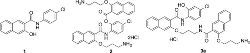 Chemicalstructures of previously reported CREB inhibitors: naphtholAS-E (1) and compounds 2 and 3a. Compound 2 is rapidly transformed into 3a through an O,N-acyl transfer reactionat pH 7.4.