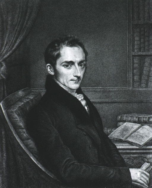 <p>Half-length, right pose; seated; open book on table in background.</p>