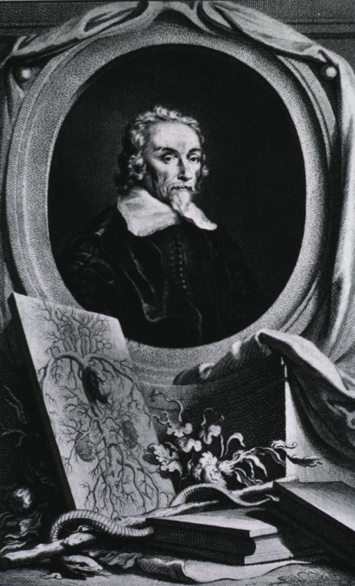 <p>Head and shoulders, right pose, full face; in oval with arterial chart, books and caduceus in foreground.</p>