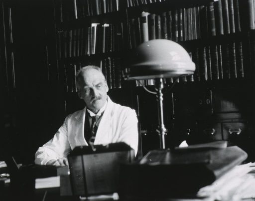 <p>Professor Sophus Torup, Physiological Institute, University of Christiana, Norway, seated at the desk in his office.</p>