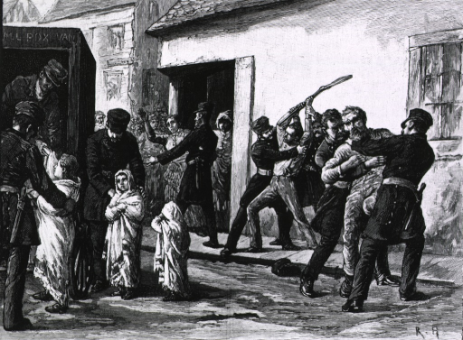 <p>An incedent of the small-pox epidemic in Montreal: the sick children of a French-speaking man are taken forcibly to be treated.</p>