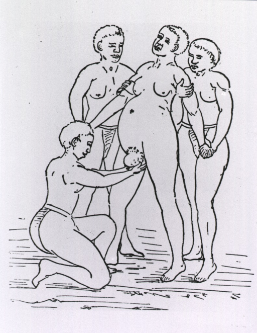 <p>A woman is giving birth from a standing position; three women assist.</p>