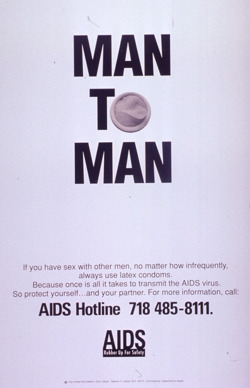 <p>White poster with black lettering.  Title at top of poster.  The &quot;o&quot; in top is represented by a photo reproduction of a new condom.  The condom is the only visual image.  Caption below title, along with a number for an AIDS hotline.  Note below caption.  Publisher information at bottom of poster.</p>