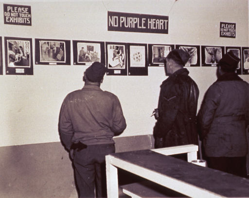 <p>Servicemen examine photographs in an exhibit on venereal disease.</p>