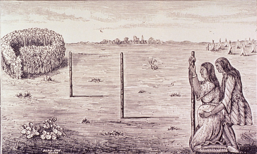 <p>A pregnant woman is leaning on a post; she is held from behind by another person. An Indian village is in the background to the right; to the left is a confinement area.</p>