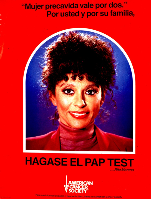 <p>Predominantly red poster with black and white lettering.  Initial title phrases at top of poster.  Visual image is a color photo reproduction featuring actress Rita Moreno.  Final title phrase below photo.  Publisher information at bottom of poster.</p>