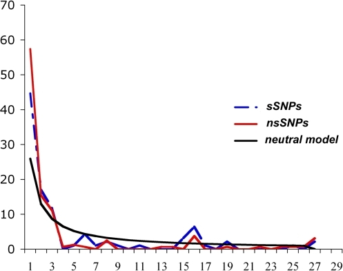 Site frequency spectrum of sSNPs and nsSNPs.This spectrum summarizes the allele frequencies of the various mutations in the sample.