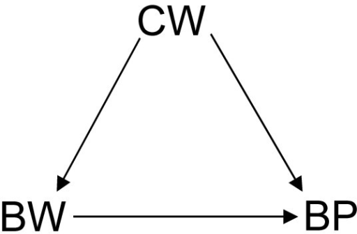 DAG showing a scenario where birth weight (BW) has a causal effect on and shares a common cause – current weight (CW) – with blood pressure (BP). That is, the relationship between BW and BP is confounded by CW.