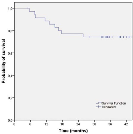 Relapse-free survival of patients treated with preoperative capecitabine-base chemotherapy and cetuximab (n=36).