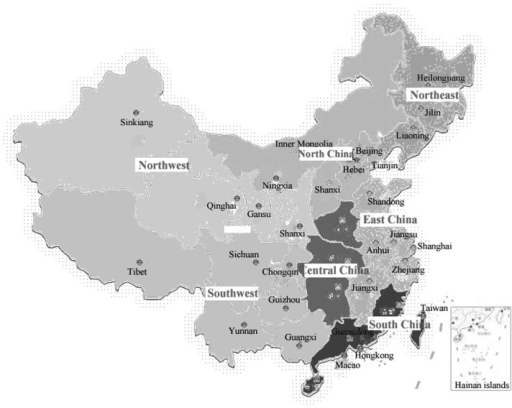 Regional distribution of the patients with HCV recruited in this study. Twenty-eight hospitals were divided territorially into North, Northeast, Southwest, South, Central, Northwest and East China. There were 92 HCV-infected patients in North China, 91 in Southwest China, 104 in South China, 224 in Central China, 162 in Northwest China, 252 in East China and 89 in Northeast China. HCV, hepatitis C virus.