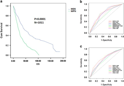 Relative prognostic power of existing CMML models parsed by MDS-CMML and MPN-CMML. The OS of our international database parsed by MDS-CMML and MPN-CMML (a). The ROC curves of all clinical models tested for MDS-CMML (b) and MPN-CMML (c) is shown for OS at 36 months.