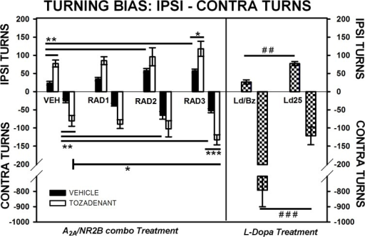 Ipsi- and contra turning bias (Ethovision, Noldus) in open-field of 6-OHDA rats.Comparison of the effect of three different doses of Radiprodil (1, 2 or 3 mg/kg) given in combination with a fixed dose of Tozadenant (30 mg/kg). For comparison, a dose of L-Dopa 14 mg/kg plus benserazide 3.5 mg/kg and a dose of L-Dopa 25 mg/kg (without benserazide) were also tested. Ipsi turns: RAD3/TOZ is significantly higher than RAD3 (*, p<0.05). VEH significantly lower than TOZ, RAD2 and RAD3 (**, p<0.01); L-Dopa 25 mg/kg is significantly higher than L-Dopa/Benserazide (##, p<0.01). Contra turns: RAD3/TOZ is significantly higher than TOZ (*, p<0.05) and RAD3 (***,p<0.001). VEH is significantly lower than TOZ, RAD2 and RAD3 (**, p<0.01). L-Dopa/benzerazide is significantly higher than L-Dopa 25 mg/kg (###, p<0.001).