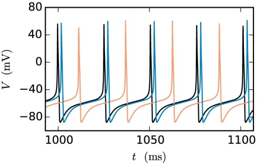 Artefactual shift when using the single-step method. The black curve shows the reference time course of the membrane potential of a Hodgkin-Huxley point-neuron model subject to a constant input current of 200 pA after simulating 1 s of biological time. The other curves indicate the time course of the membrane potential of the same neuron with the same input for the case that the neuron is coupled by a gap junction to a second model neuron with exactly the same properties and the simulation is carried out with the single-step approach using a Runge-Kutta-Fehlberg solver with an adaptive step-size control to cover the interval of one computation time step h. The orange curve displays the result for a step size of h = 0.1 ms and the blue curve for 0.02 ms.