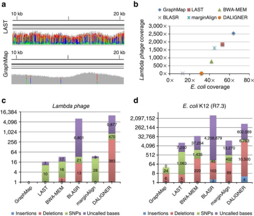 Sensitivity and mapping accuracy on nanopore sequencing data.(a) Visualization of GraphMap and LAST alignments for a lambda phage MinION sequencing data set12 (using integrative genomics viewer (IGV) (ref. 36)). Grey columns represent confident consensus calls while coloured columns indicate lower quality calls. (b) Mapped coverage of the lambda phage12 and the E. coli K-12 genome31 (R7.3 data) using MinION sequencing data and different mappers. (c) Consensus calling errors and uncalled bases using a MinION lambda phage data set12 and different mappers. (d) Consensus calling errors and uncalled bases using a MinION E. coli K-12 data set (R7.3) and different mappers.