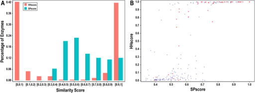 Similarity scores of the optimal templates for the primary dataset.(A) Distribution of SPscores and HHscores for CSA223. (B) Comparison of SPscores and HHscores for CSA223. The red dot suggests that our structural and sequence template predictors detect the same template for the query protein.