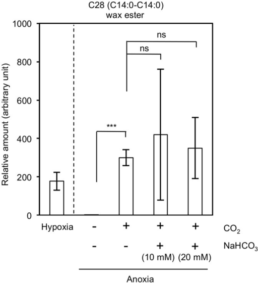 Recovery of the inhibited wax ester fermentation in anoxia by inorganic carbon sources.The relative levels of C28 (14:0–14:0) are shown as representing the wax esters in E. gracilis Z. The cells were cultivated in the light under hypoxic and anoxic conditions in the presence of CO2 and/or NaHCO3 (either 10 mM or 20 mM). The inset indicates light-anoxic conditions without an exogenous carbon supply. Error bars indicate standard deviation from triplicate cultures.