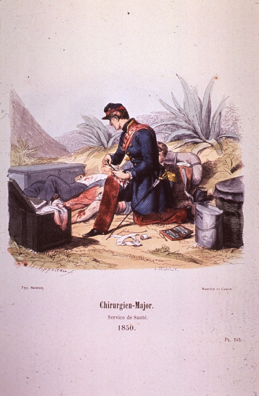 <p>The Surgeon-Major attends two wounded men, bandages and instruments on the ground.</p>