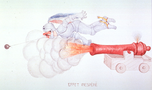 <p>Caricature:  A knight is attempting to extract a tooth by attaching a string to the tooth and a cannon ball and firing the cannon; however, the tooth fails to come out and the Knight is dragged along behind the cannon ball.</p>