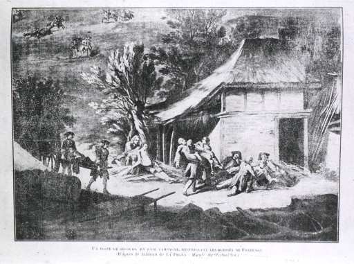<p>Transportation of wounded to an aid station during the Battle of Fontenoy.</p>