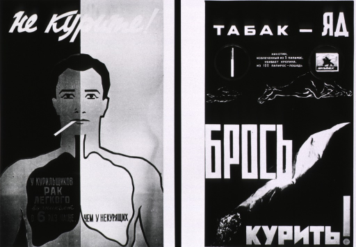 <p>Two posters concerned with the harmful effects of smoking. Translations read: (left) &quot;Six times more lung cancer among smokers&quot; and (right) &quot;Stop smoking: the nicotine in 5 cigarettes kills a rabbit, that in 100 cigarettes kills a horse.&quot;</p>