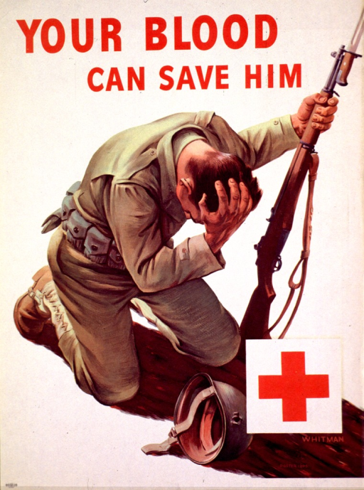<p>Off-white poster with red print and Red Cross logo in the lower right corner. The poster shows a soldier on his knees, grasping the crown of his head with one hand and holding his rifle in the other. His helmet has a bullet hole in it and is lying on the ground. &quot;Whitman&quot; appears below the Red Cross logo.</p>