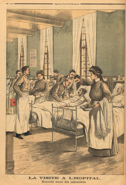 <p>Illustraton of the new nurse's uniform.  Two nurses are shown at work in a busy hospital ward.</p>