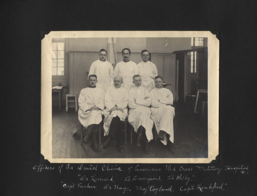 <p>Black and white photograph of 7 officers of the Dental Clinic at the American Red Cross Military Hospital no. 1 in Neuilly-sur-Seine, France.</p>