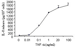Effect of TNF-α on IL-8 release from eosinophils. Eosinophils were cultured with different concentrations of TNF-α (0 – 100 ng/ml). IL-8 release was evaluated by ELISA. Values are mean ± SEM (n = 5).