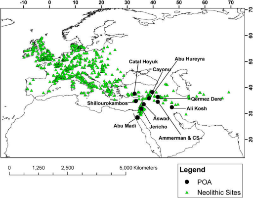 Location of the 735 Archaeological Sites Used in the Analysis as well as the Ten POAs Listed in Table 1