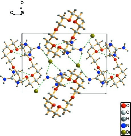 A view of the packing of the title compound viewed along the a axis. Dashed lines indicate hydrogen bonds.