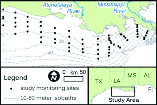 Map of shelf bathymetry and monitoringsites used in study.