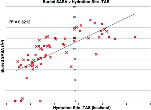 A plot of the change in SASA when a carbon atom is placed at each of the 56 hydration sites predicted by the restrained simulation against the calculated total −TΔS of that site with respect to bulk water.