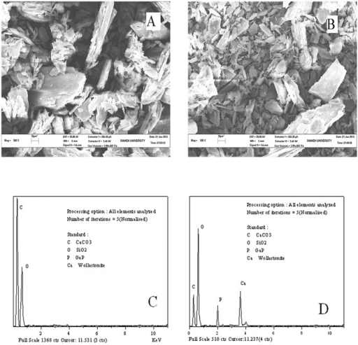 SEM micrograph of (A) ASP, (B) Ca-ASP and EDS spectrum of (C) ASP, (D) Ca-ASP.