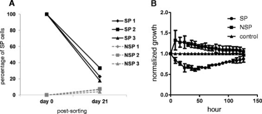 SP cells grow at a slower rate compared to NSP cells. (A) Upon relabelling with Hoechst 33342 on day 21 post-sorting, recultured SP cells had divided asymmetrically into SP and NSP phenotypes. Recultured NSP cells had poorer asymmetric division ability. (B) Impedance-based cell growth assay indicated that the normalized growth rate for SP cells was lower than NSP cells.