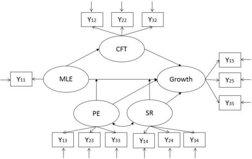 Applied structural equation model. This model was applied separately to positive and negative events. Positive events: MLE-P, highest impact of experienced positive event; Growth-P, postecstatic growth; CFT-P, counterfactual thinking about positive experiences; Negative event: MLE-N, highest impact of experienced negative event; CFT-N, counterfactual thinking about negative experiences; Growth-N, reported posttraumatic growth; PE, positive emotions; SR, supportive relationships.