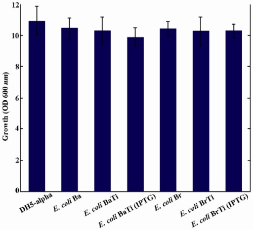 No significant changes were observed in growth associated with ispA over-expression. Error bars indicate the standard error of the mean of three independent experiments.