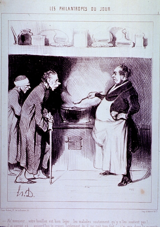<p>Caricature: Two very thin men approach a cook who is preparing soup.</p>