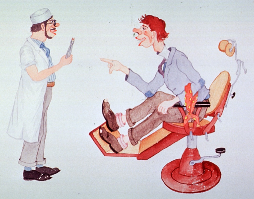 <p>Caricature:  A dentist shows a patient the tooth that had been causing so much agony.  The patient is sitting is in a dental chair.</p>