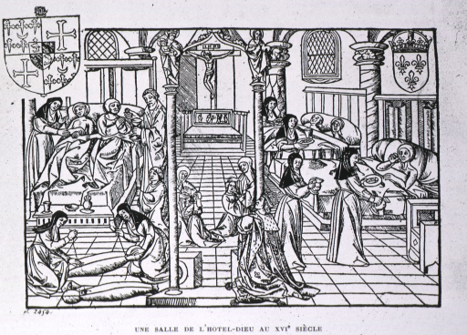 <p>Interior view: patients on the right are being fed by nuns; on the left a priest offers the Eucharist to a patient; in the left foreground two nuns prepare corpses for burial; the center of the image is dominated by religious iconography.</p>
