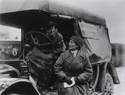 <p>ARC Ambulance showing Mrs. Mary P. Gardner and Miss Anna A. Tyan.</p>