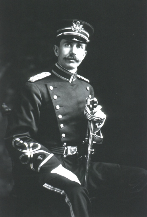 <p>Three-quarter length, seated, right pose, full face; wearing uniform and cap; holding sword.</p>
