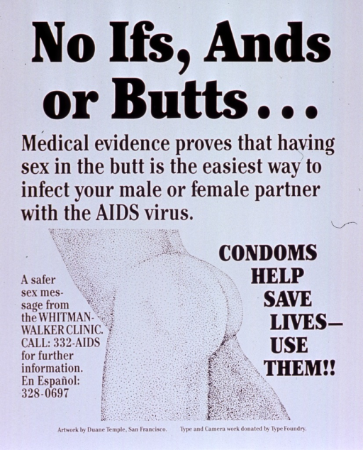 <p>White poster with black lettering.  Title at top of poster.  Caption below title.  Visual image is an illustration of a side view of a pair of buttocks.  Publisher information on left side of illustration.  Note on right side of illustration.</p>
