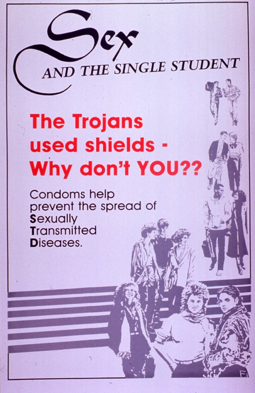 <p>Predominantly white poster with black and red lettering.  Title at top of poster.  Visual image is an illustration of several young adults, clustered in pairs or small groups, on or around a short flight of steps.  Caption on left side of poster below title.</p>