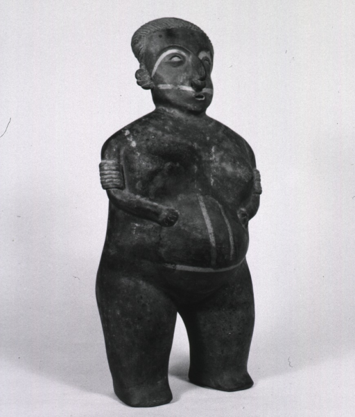 <p>Sculpture:  Standing pregnant woman with arms over greatly swollen abdomen.</p>