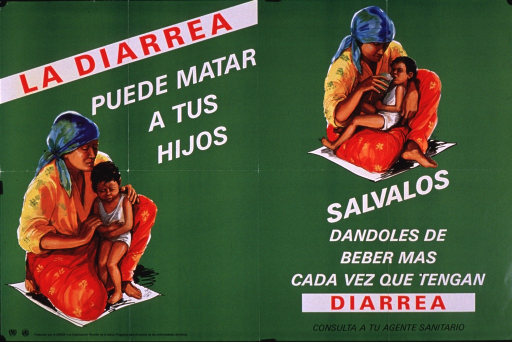 <p>Predominantly bright green poster with multicolor lettering.  Title near upper left corner.  Visual images are illustrations of a mother and her child.  On the left side, the child clutches its stomach and appears distressed.  On the right side, the mother holds the child on her lap and offers a drink from a glass.  Caption below right side illustration urges saving children by giving them more to drink when they have diarrhea and consulting a health worker.  Publisher information in lower left corner.</p>