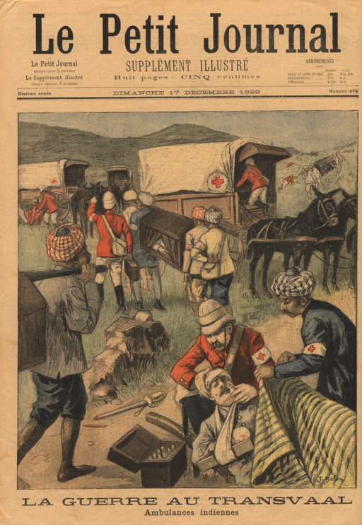 <p>Red Cross workers and natives are shown treating and transporting wounded soldiers.  The horse-drawn ambulances are parked in a grassy field.</p>