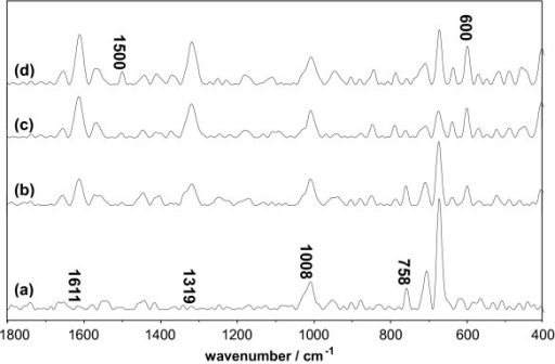 Raman spectrum of Lys system vs. the concentration of Q. The concentrations of Lys and DMSO were maintained at 1.5 × 10-5 mol/L and 10%, respectively. (a) 0 mol/L Q; (b) 3.0 × 10-5 mol/L Q; (c) 9.0 × 10-5 mol/L Q; (d) 1.5 × 10-4 mol/L Q.