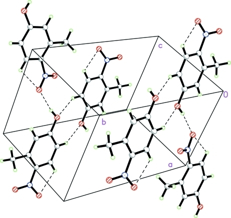 A view of the O—-H···O and C—H···O hydrogen bonds (dotted lines) in the crystal structure of the title compound.