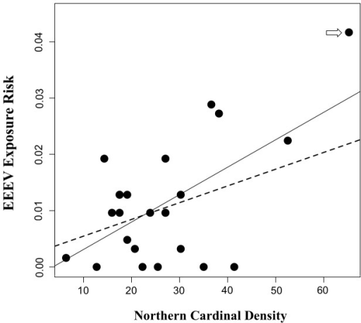 Association between EEEV exposure and northern cardinal density.Scatterplot showing the relationship between EEEV exposure risk in chickens during 2009 and 2010 and northern cardinal density at 24 sentinel sites in Walton County, Florida. The estimate for the slope of exposure risk regressed on northern cardinal density was 0.006 with a 95% UCI of [0.0025, 0.0107]. This estimated slope, when an influential observation (indicated by the arrow) was removed from the dataset, was 0.004 [−0.001, 0.009]. The best-fit line from simple linear regression of exposure risk residuals on northern cardinal density are overlaid, with the solid line fit to the full dataset, and the dashed line fit to the dataset that excluded the influential observation.