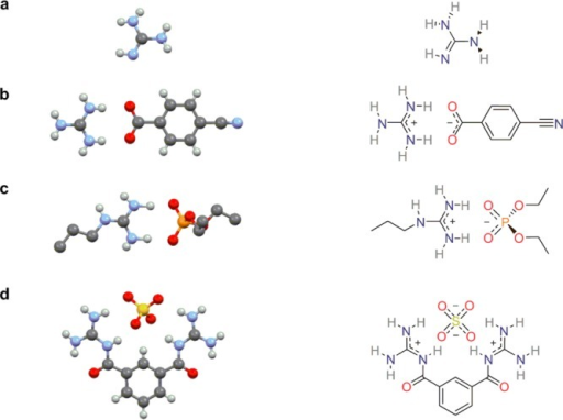 Crystalstructures and 2D representations of (a) free base guanidine,16 (b) a guanidinium carboxylate salt,20 (c) a propylguanidinium phosphate salt,21 and (d) a sulfate salt of a synthetic bisguanidiniumreceptor.22